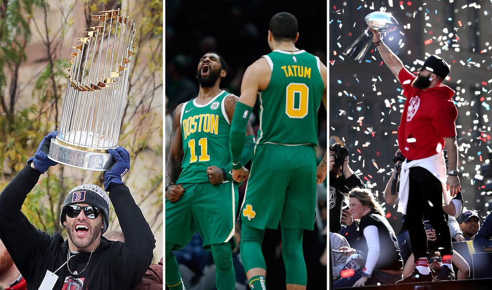 J.D. Martinez hoists the World Series trophy during the Red Sox parade last fall; Kyrie Irving and Jayson Tatum react during a win in December; Julian Edelman raises the Lombardi Trophy during the Patriots parade in February.