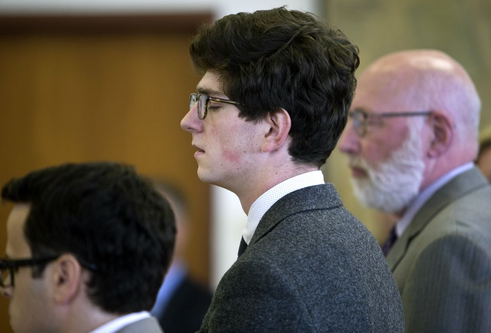 Owen Labrie, who closed his eyes as the verdict was read Friday in the Merrimack County Superior Court, is scheduled to be sentenced on Oct. 29.