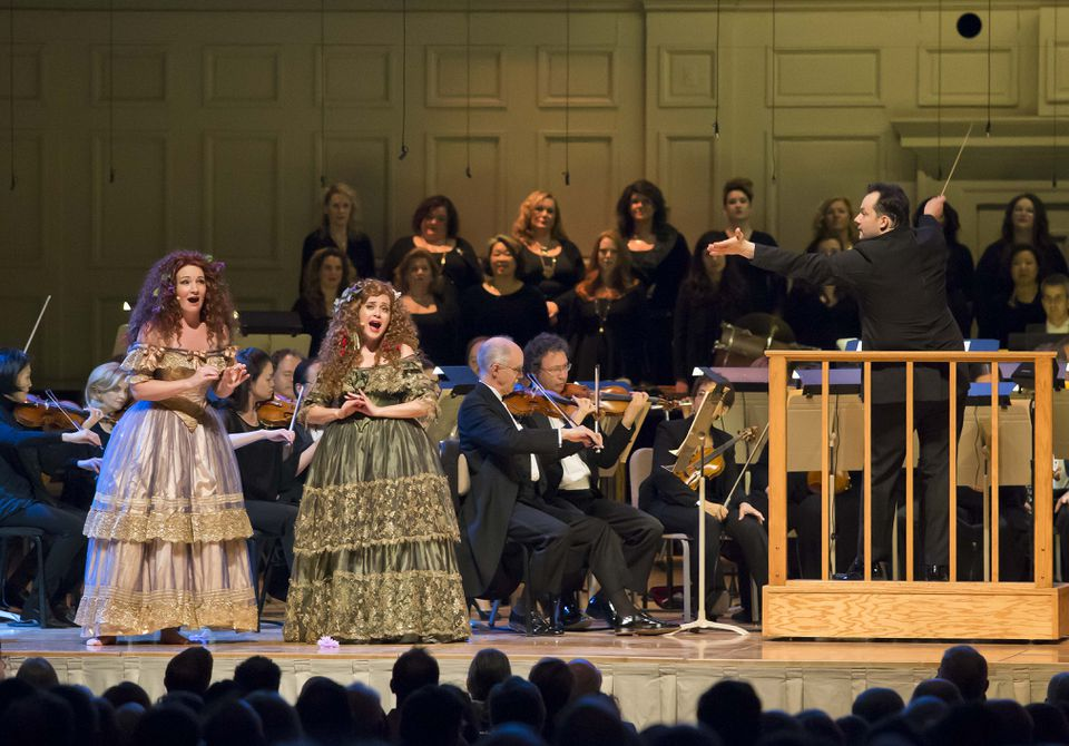 Abigail Fischer and Amanda Forsythe performing with the BSO and Andris Nelsons at Symphony Hall on Thursday.