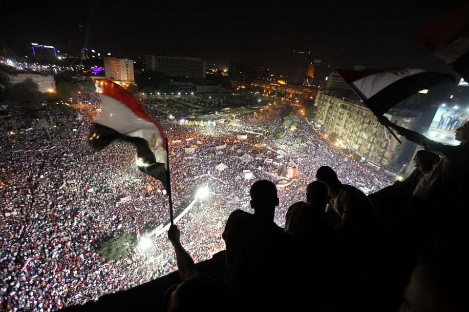 Anti-Morsi protesters chanted slogans during a mass protest to support the army in Tahrir Square in Cairo on Friday.