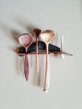 "Barnaby Carder's ""Barn the Spoon"" is on display at the Fuller Craft Museum in Brockton."