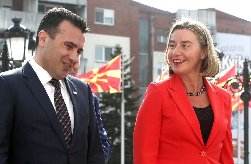 Prime Minister Zoran Zaev of Macedonia (left) walked through Skopje with a top EU official last week. The visit came one day after the European Commission recommended that the EU launch membership talks with Albania and Macedonia.