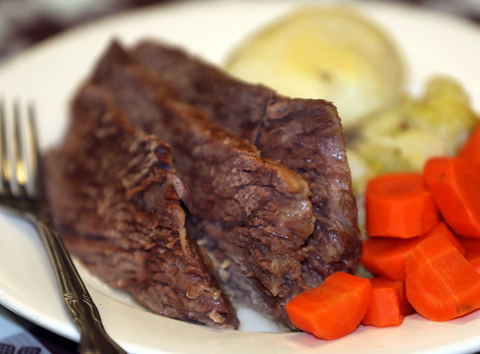 A traditional corned beef dinner.