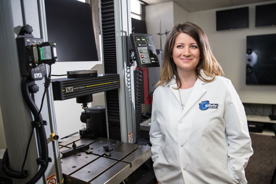 Product researcher Amy Couture-Rizzo in a Gillette lab.