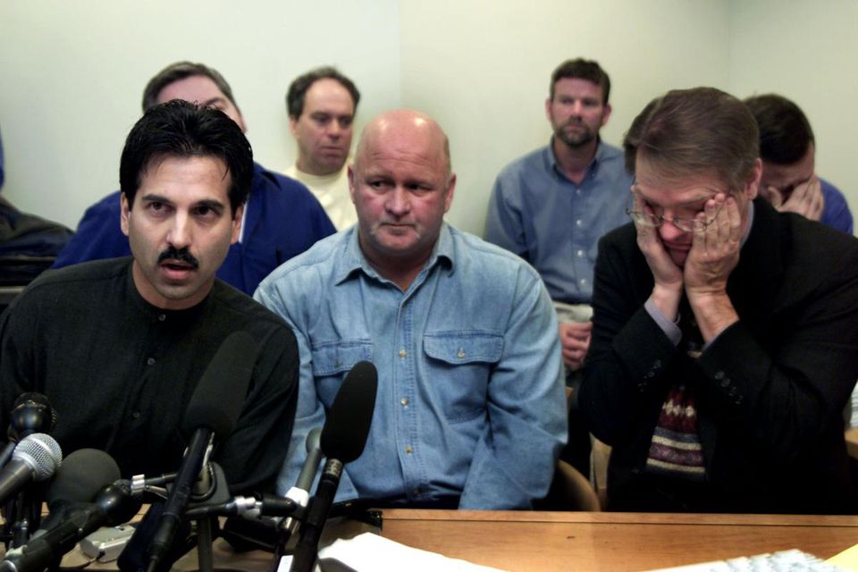 From left, Phil de Albuquerque of Speak Truth to Power; Rodney Ford, father of an alleged abuse victim; and David Clohessy of Survivors Network of those Abused by Priests. The group addressed the media in Boston during the release of documents at a Boston law firm.
