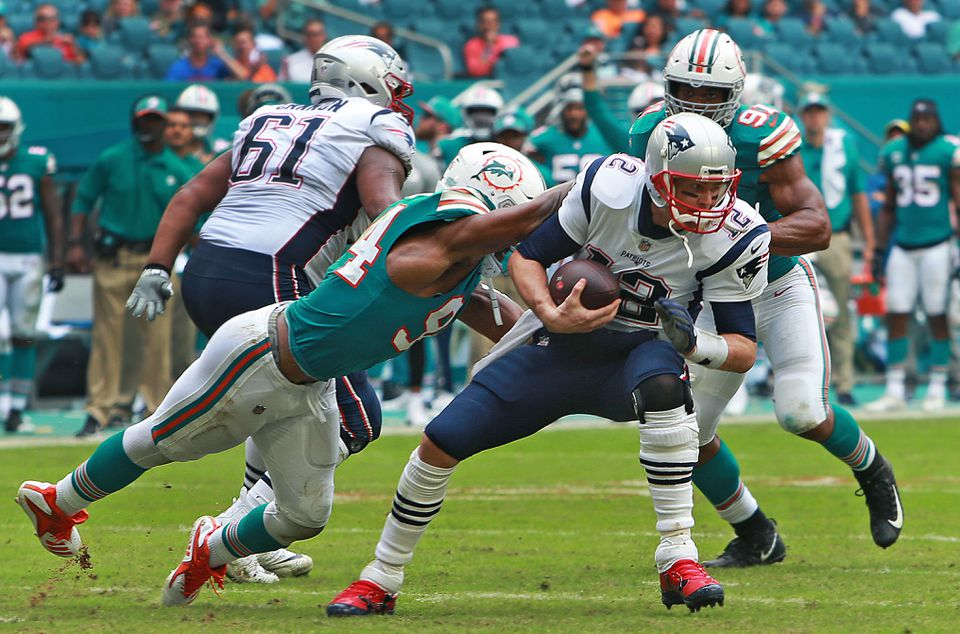 Tom Brady was sacked by the Dolphins' Robert Quinn on the final play of the first half.