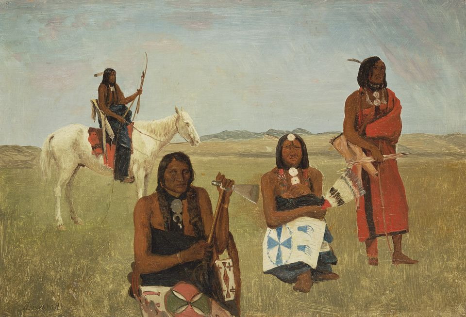 """Albert Bierstadt's """"Indians Near Fort Laramie"""" is part of """"Collecting Stories: Native American Art"""" at the MFA."""