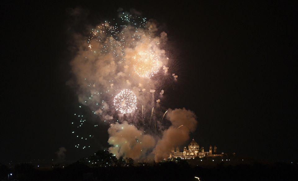 Fireworks lit up the sky over Umaid Bhawan, the venue for the wedding of Priyanka Chopra and Nick Jonas in Jodhpur, India, on Saturday.