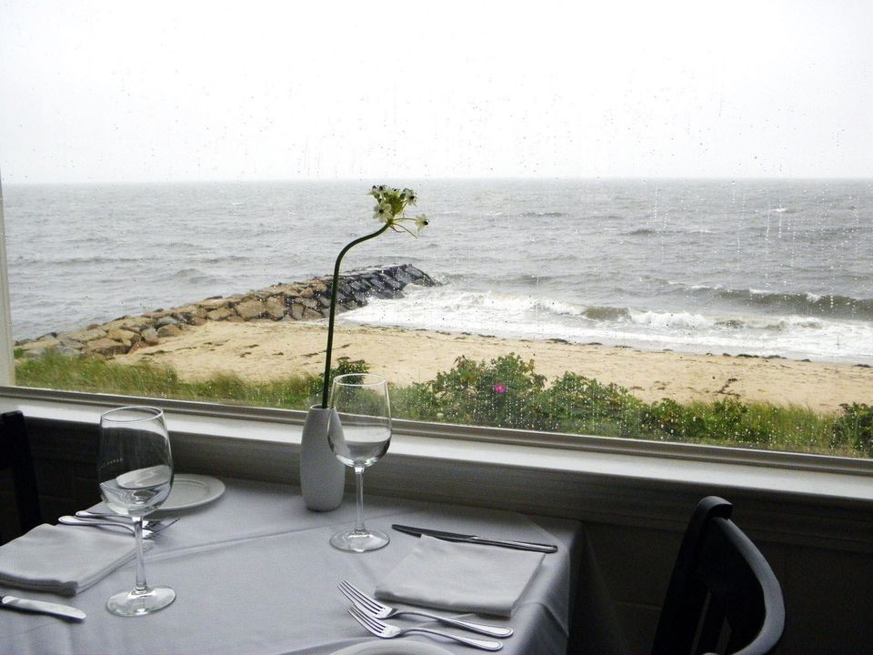 The view is dazzling from the window-side tables at the Ocean House in Dennis Port.