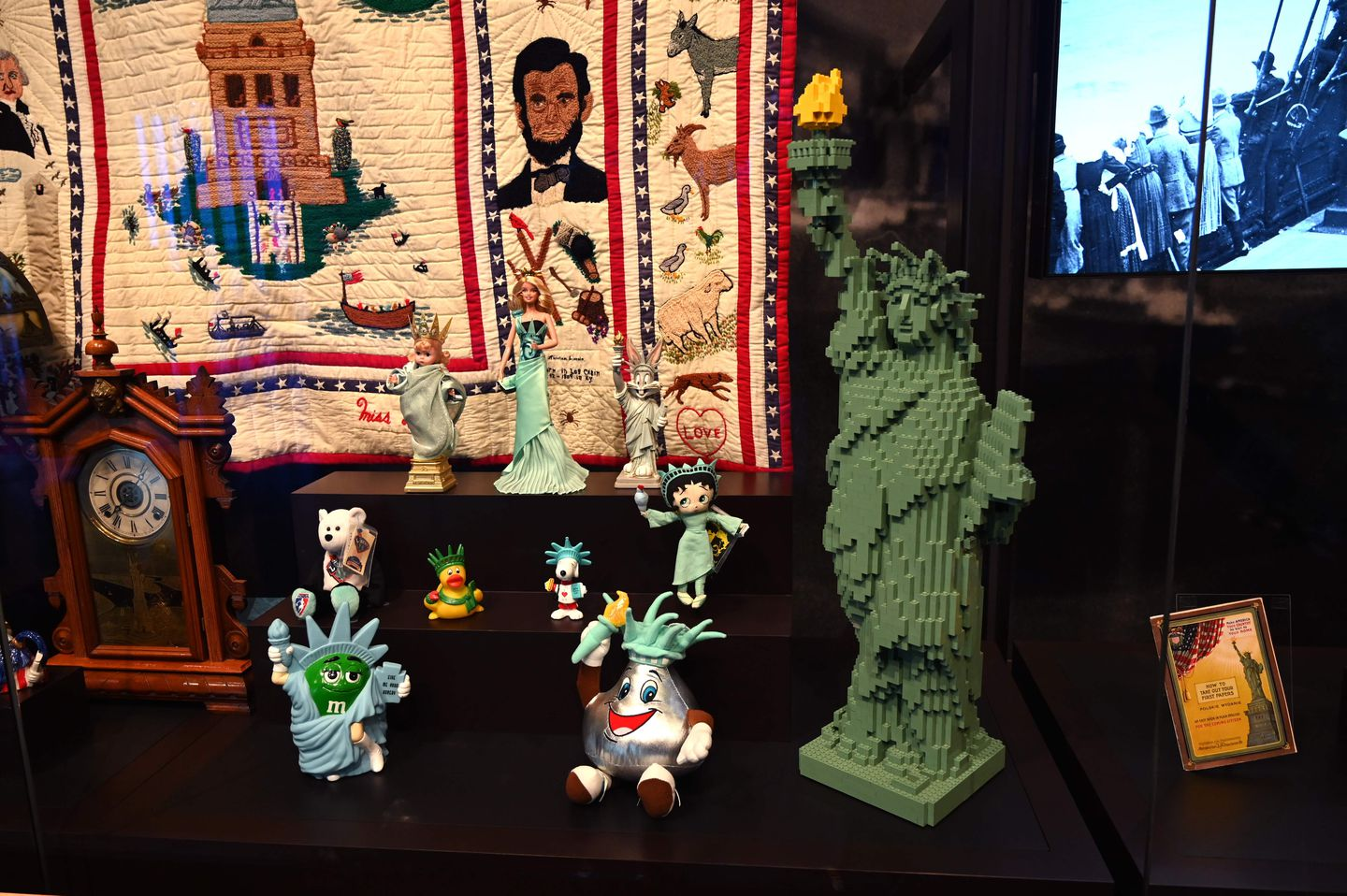 Statue of Liberty toys are displayed at the new Statue of Liberty Museum.