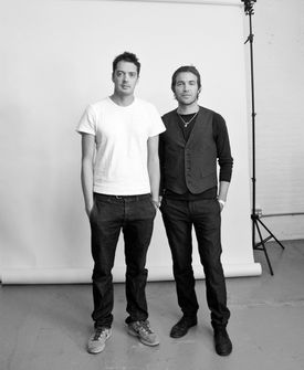 Marcus Wainwright (left) and David Neville of Rag & Bone. At left: their Newbury line.