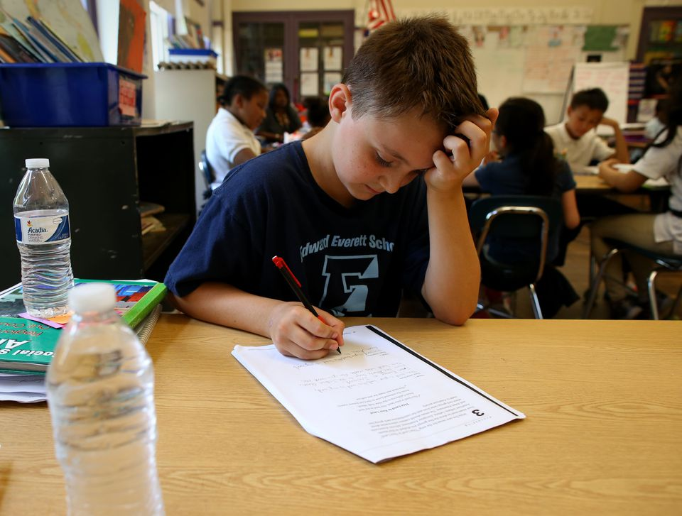 Dylan Conroy, a fourth-grade pupil at Edward Everett Elementary School, kept bottled water on his desk.