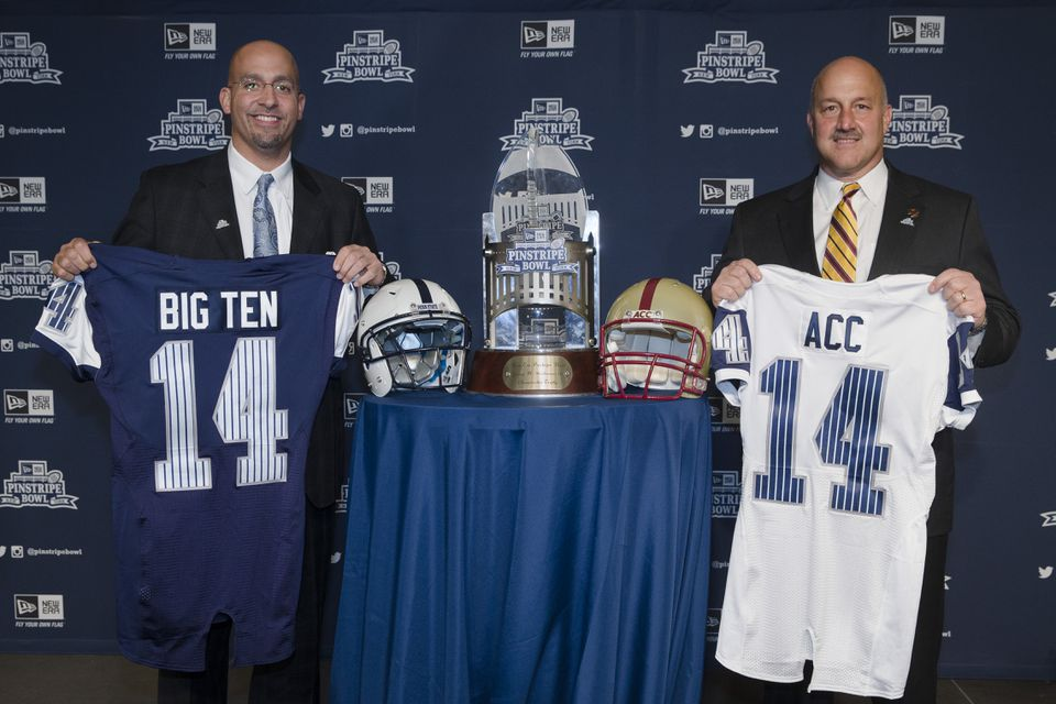 Penn State coach James Franklin (left) and BC's Steve Addazio will lead their teams against one another Dec. 27 in the Pinstripe Bowl.
