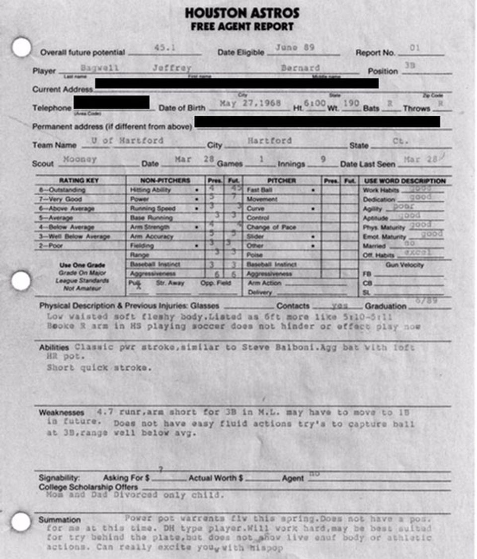 Tom Mooney's amateur scouting report on Jeff Bagwell when he played for the University of Hartford in 1989.
