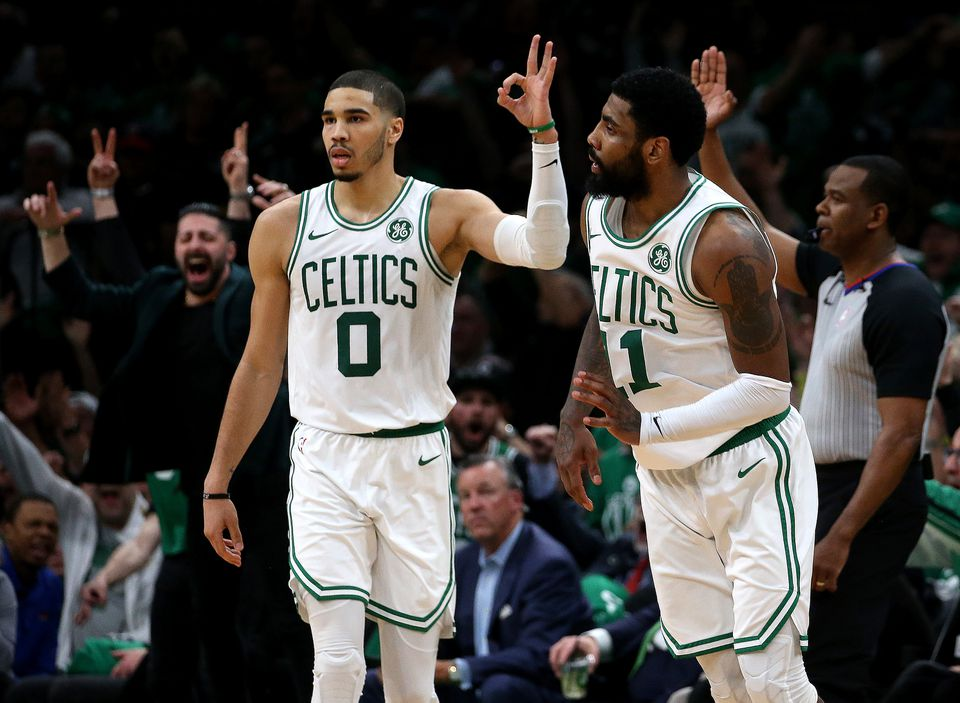 Kyrie Irving (right) was a one-man wrecking crew in Game 2 but will need more help from his supporting cast in Game 3, including Jayson Tatum.