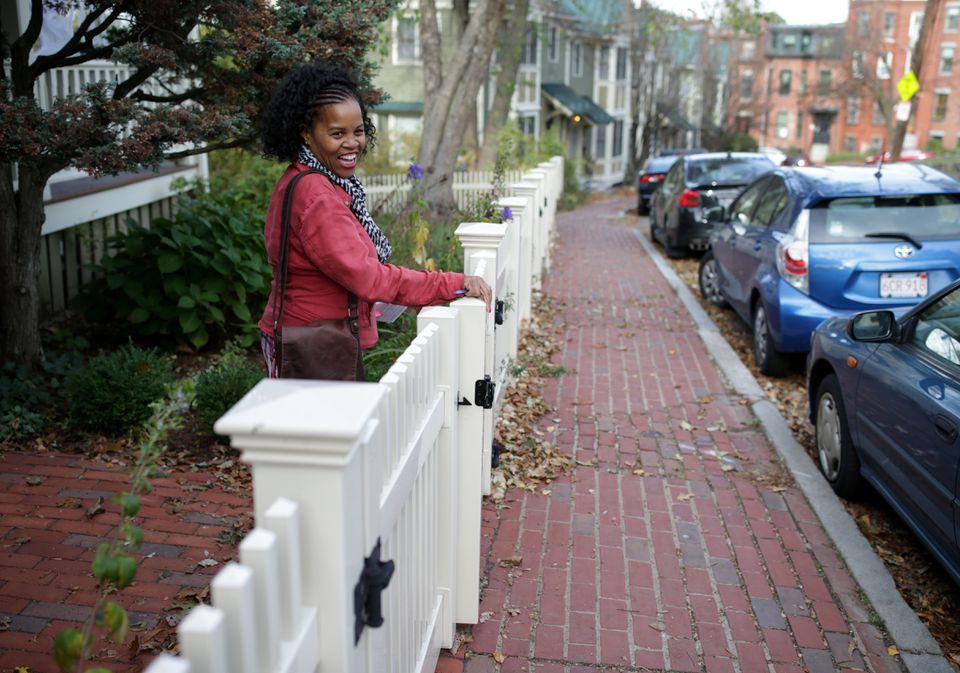 Kim Janey campaigning door-to-door in Roxbury.