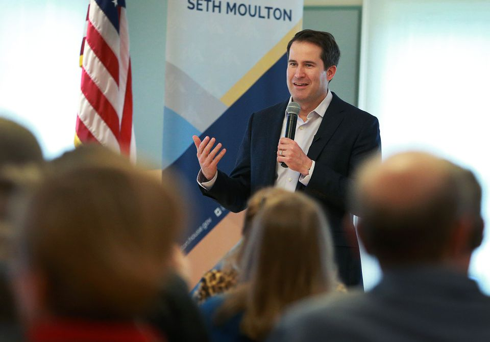 Massachusetts congressman and presidential candidate Seth Moulton is pictured during a Town Hall event held at the Newburyport Senior Community Center on May 5.