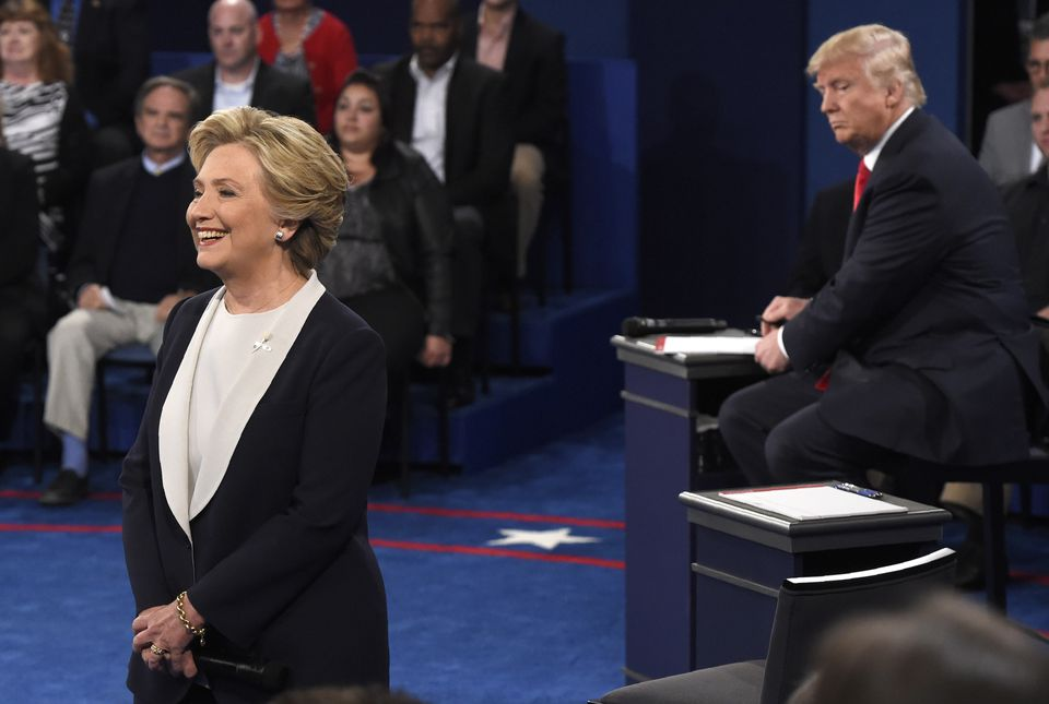 Hillary Clinton and Donald Trump during their second debate in October 2016.
