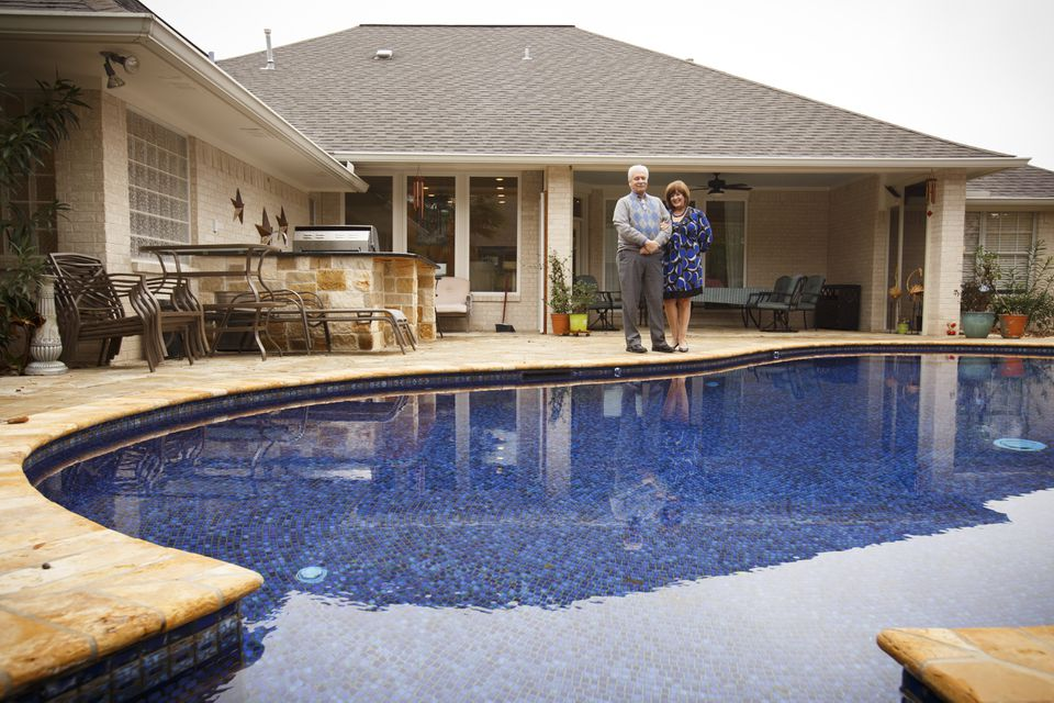 Marilyn Santiesteban and her husband Kent Portney at their home in College Station, Texas.