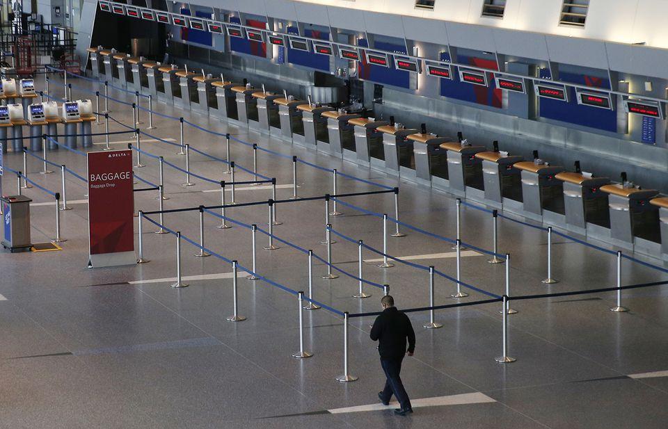 Delta's ticketing area at Logan Airport.