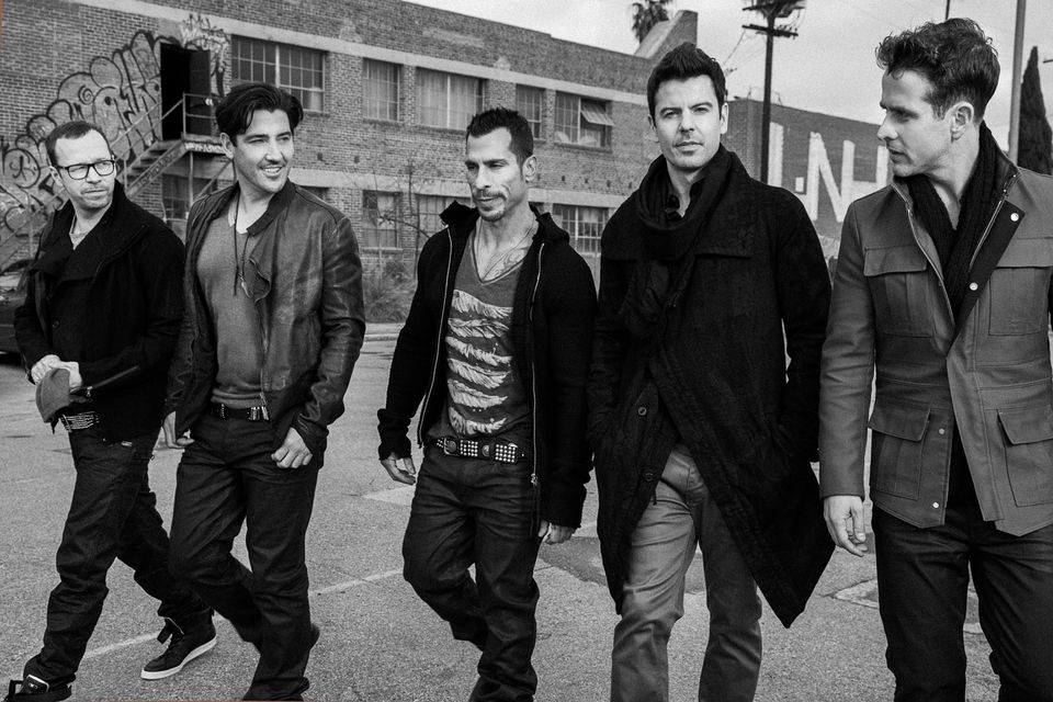 The New Kids on the Block (from left): Donnie Wahlberg, Jonathan Knight, Danny Wood, Jordan Knight, and Joey McIntyre.