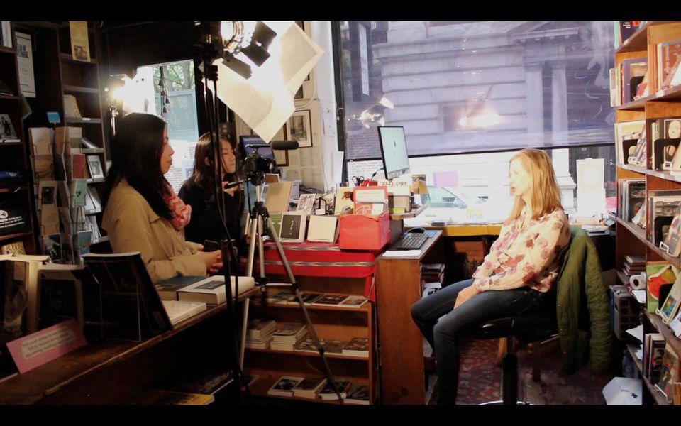 "Directors Weiying ""Olivia"" Huang and Mengyuan Lin interview Grolier staff member Elizabeth Doran."