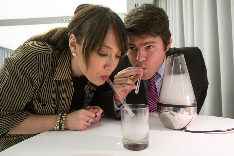 Veronica DiPerna and Patrick Foley had a drink as vapor.