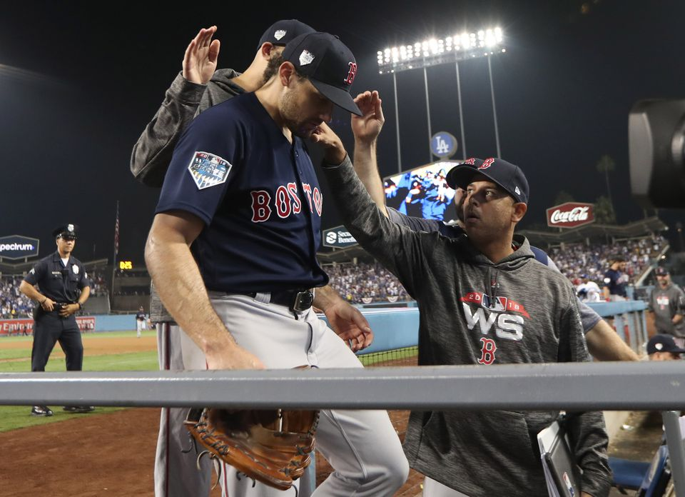 Nathan Eovaldi gets a pat on the back even after surrendering the homer that ended Game 3.