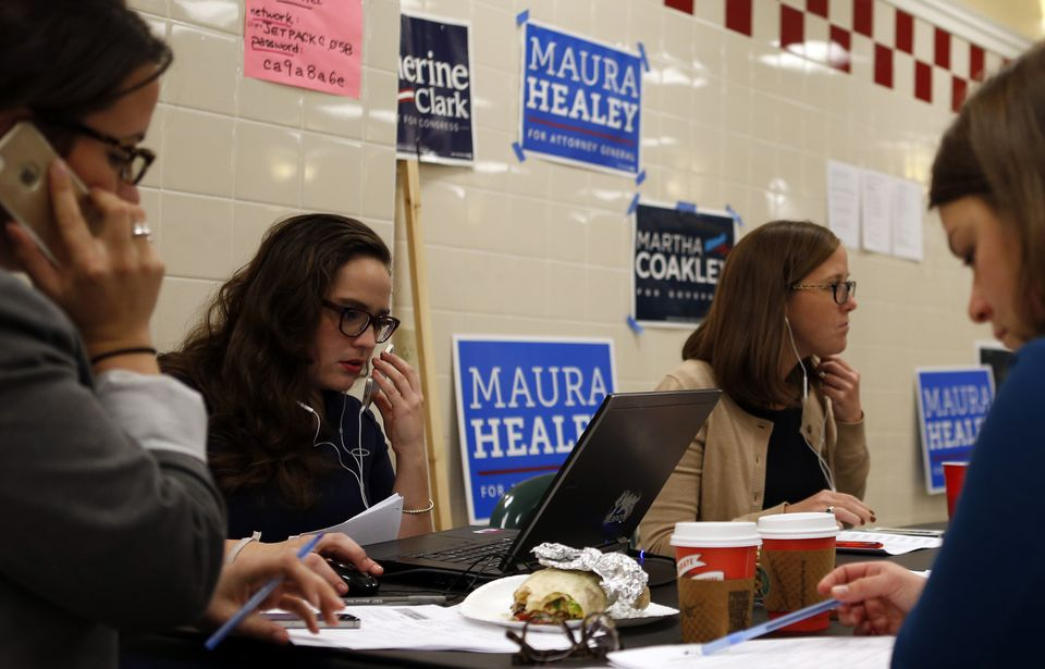 Volunteers worked the phones at a woman to woman phone bank for Martha Coakley in Cambridge last month.