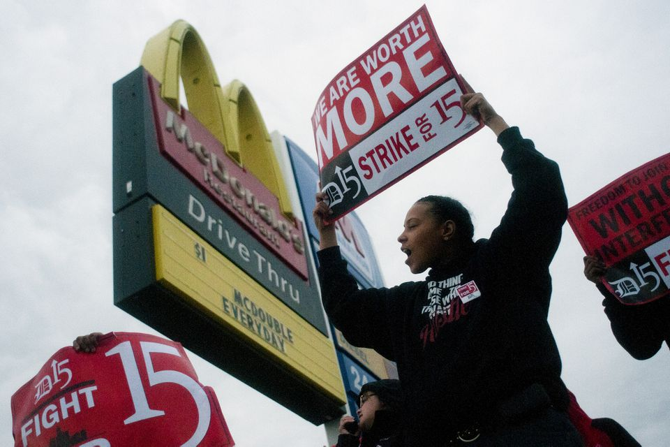 Fast-food worker Michelle Osborn, 23, of Flint, Mich. shouted chants as she and a few dozen others struck outside of a McDonald's in 2013.