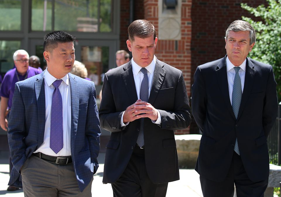 From left to right: Boston School Superintendent Tommy Chang, Boston Mayor Marty Walsh, and Boston School Committee Chairman Mike O'Neill.