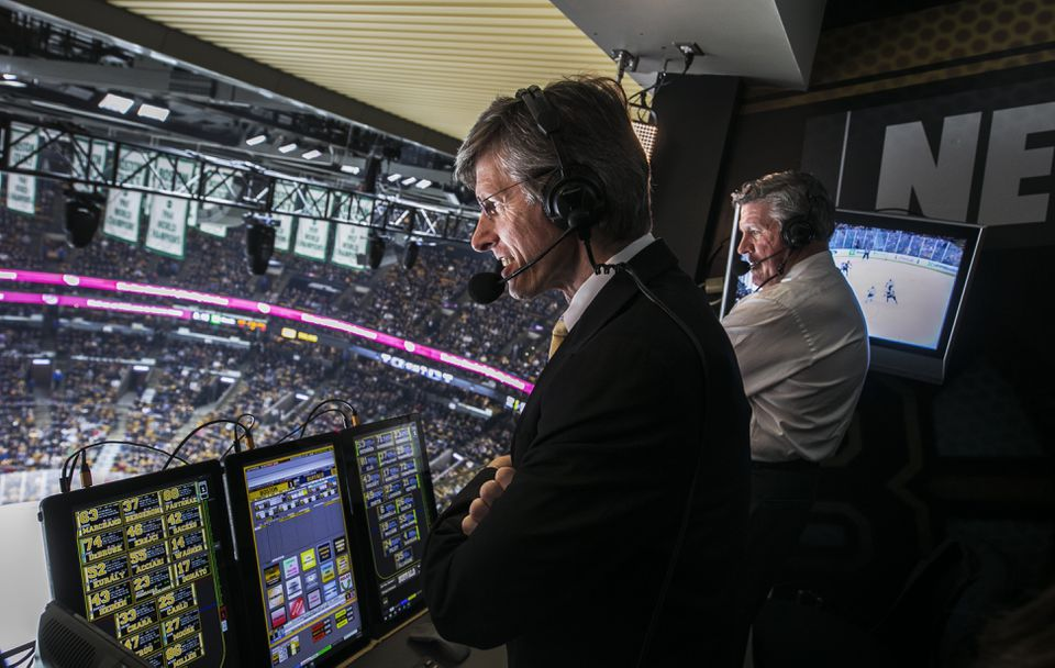 Jack Edwards, play by play, and Andy Brickley, analyst, during a Bruins broadcast last year.