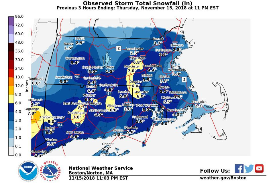 A map generated late Thursday evening showed how much snow has fallen in the region.