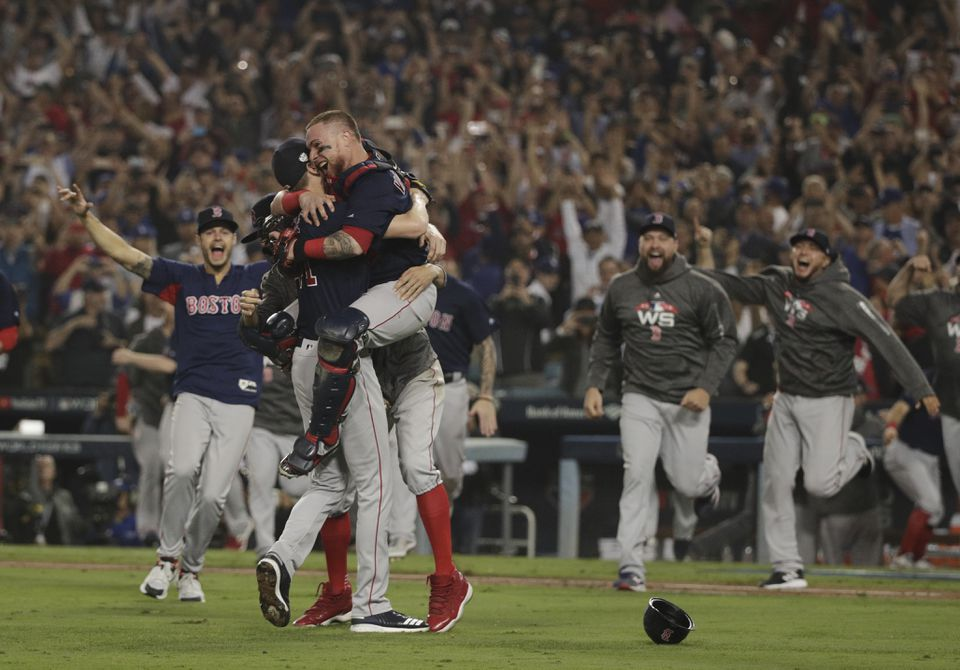 The Red Sox win the World Series in Los Angeles in October.