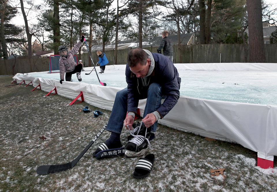 Bruce Cassidy laced his skates for a spin on his outdoor rink, manufactured by EZ ICE.