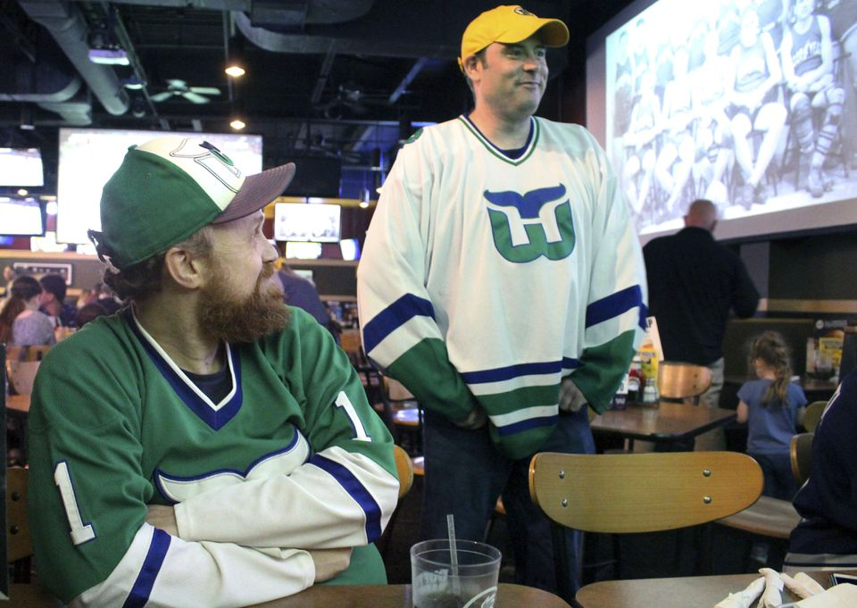 Members of the Hartford Whalers Booster Club gathered Thursday to watch what are now the Carolina Hurricanes play Game 1 of the Eastern Conference finals.