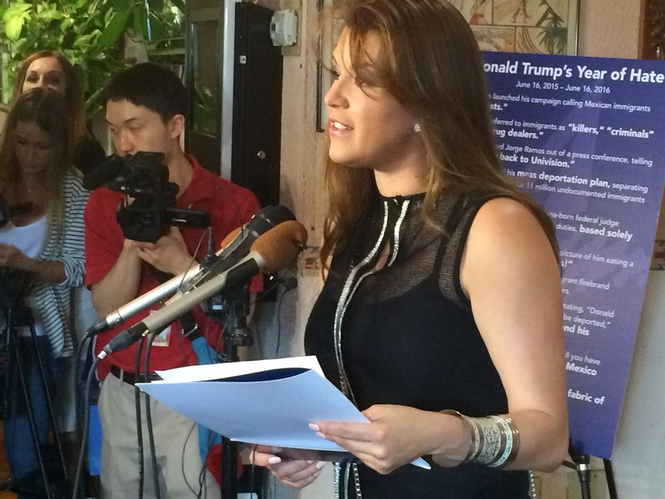 In this June 15, 2016, file photo, former Miss Universe Alicia Machado spoke during a news conference.