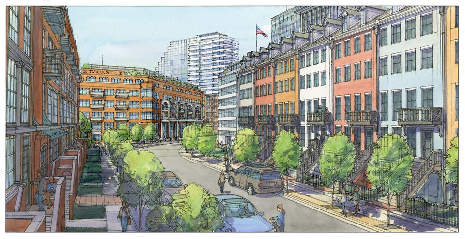 A rendering of the 1.5-million-square foot mixed-use complex proposed for the Riverside T station parking lot in Newton.