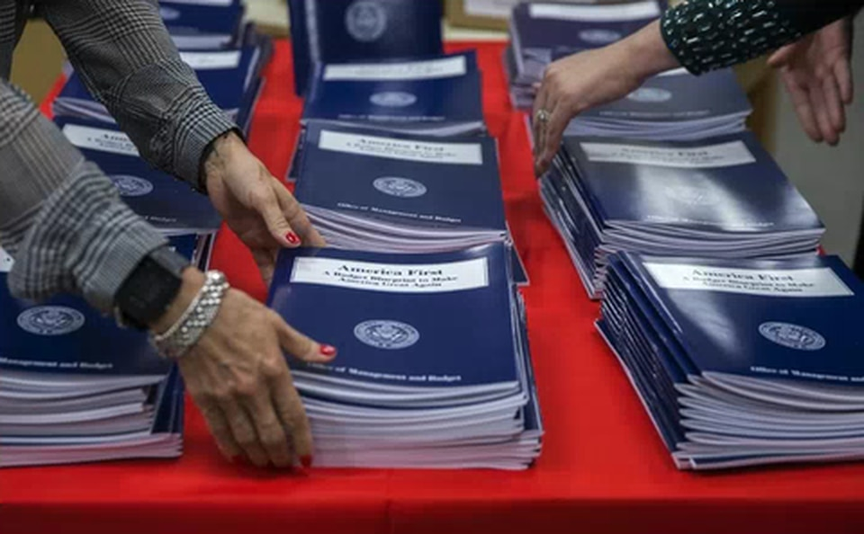 Copies of President Trump's America First budget at the GPO bookstore in Washington, D.C.