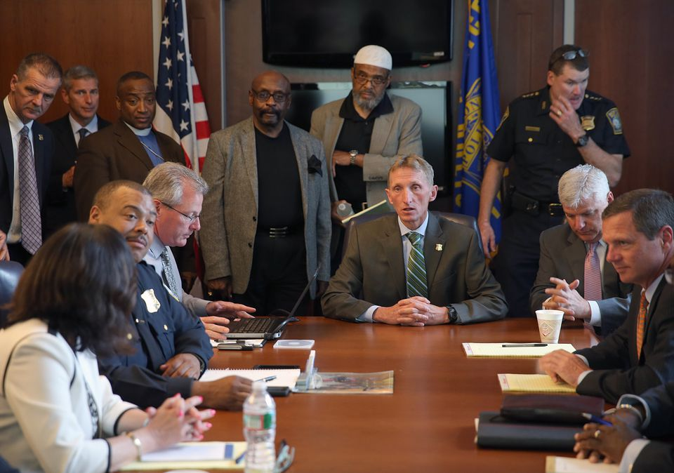 Boston Police Commissioner William Evans and other officials met Wednesday with religious and community leaders.