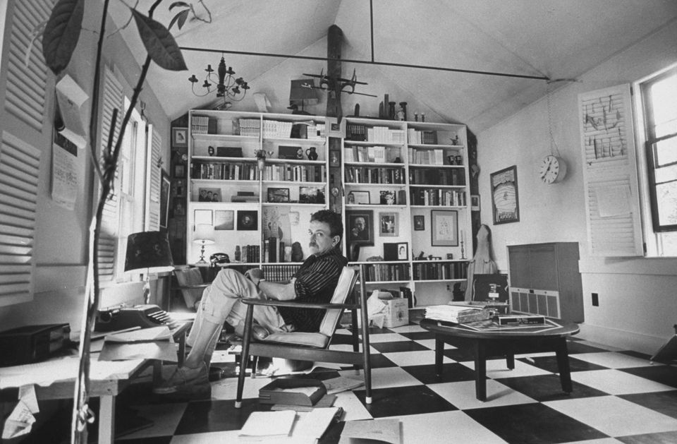 "Kurt Vonnegut in his study a few months before ""Slaughterhouse-Five"" was published in 1969. Vonnegut was also an artist and musician."