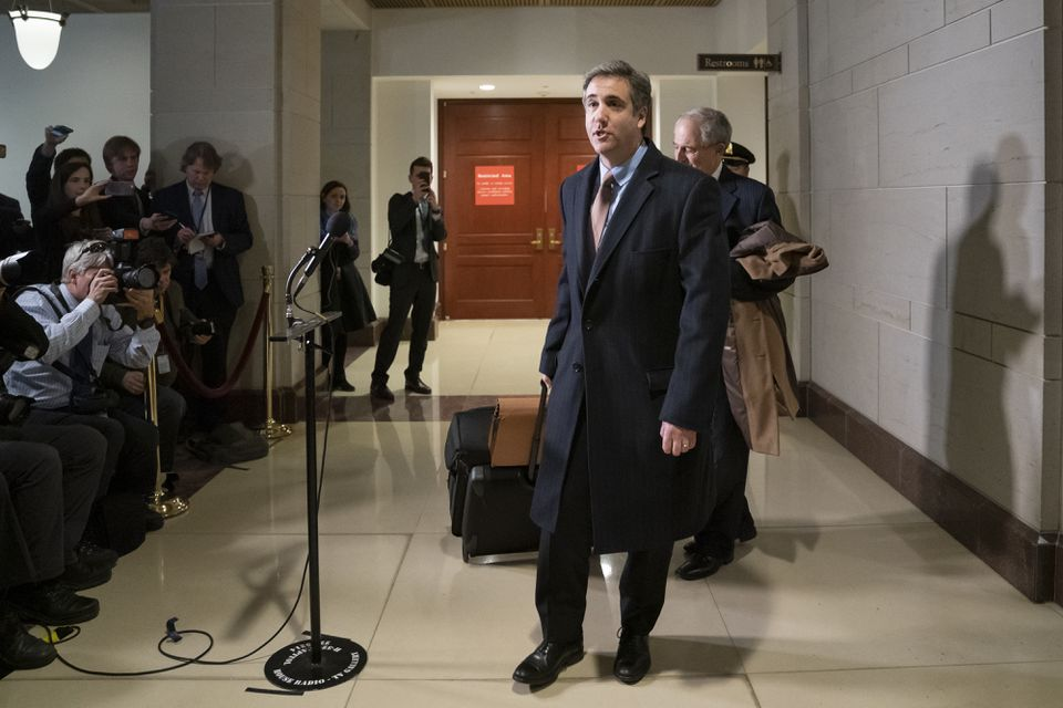 Michael Cohen, President Trump's former lawyer, spoke to reporters after a day of testimony before the House Intelligence Committee Wednesday.