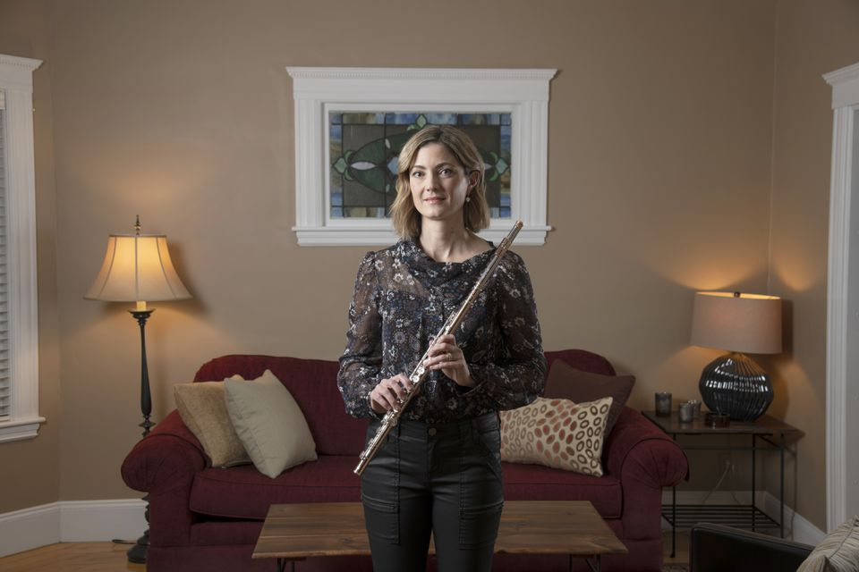 Elizabeth Rowe, the Boston Symphony Orchestra's principal flutist, at her home in Boston in November.