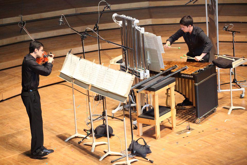 Jordan Koransky (left) and Joseph Kelly performing at Tanglewood's Festival of Contemporary Music on Saturday.