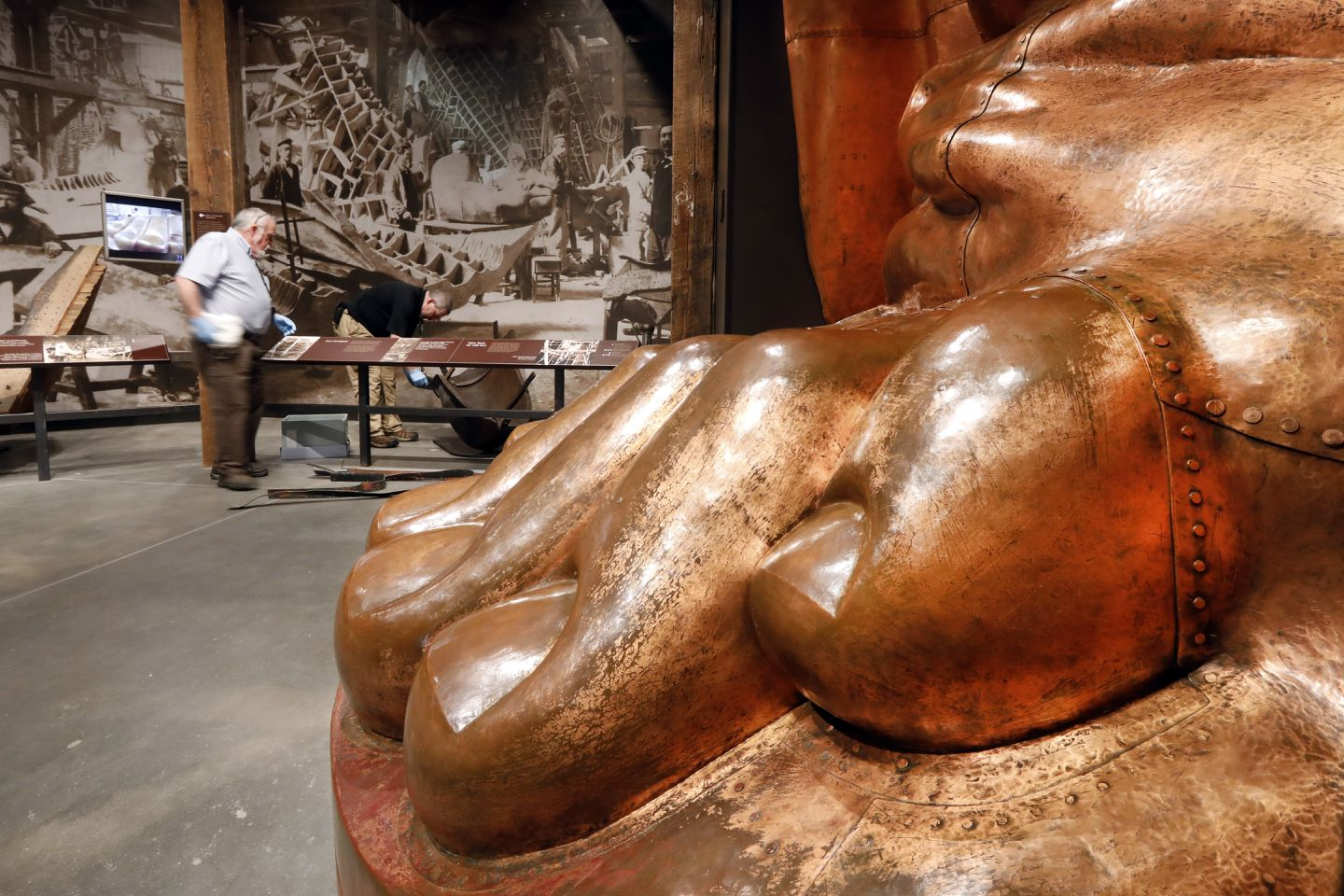 A full-scale model of the Statue of Liberty's foot is among the artifacts.