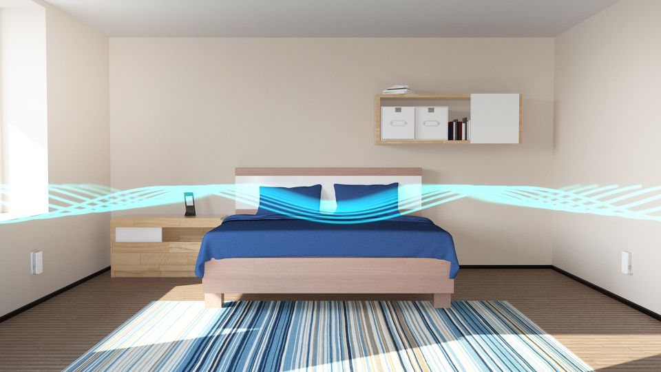 An illustration of how the Nightingale Smart Home Sleep System blankets a bedroom.