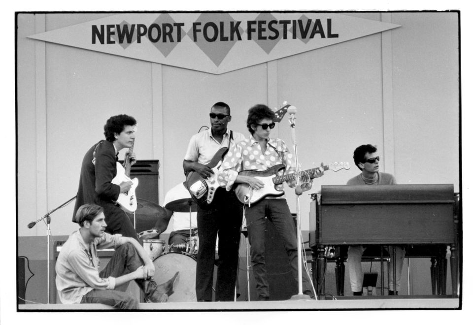 Bob Dylan, 1965 Newport Folk Festival, afternoon sound check.