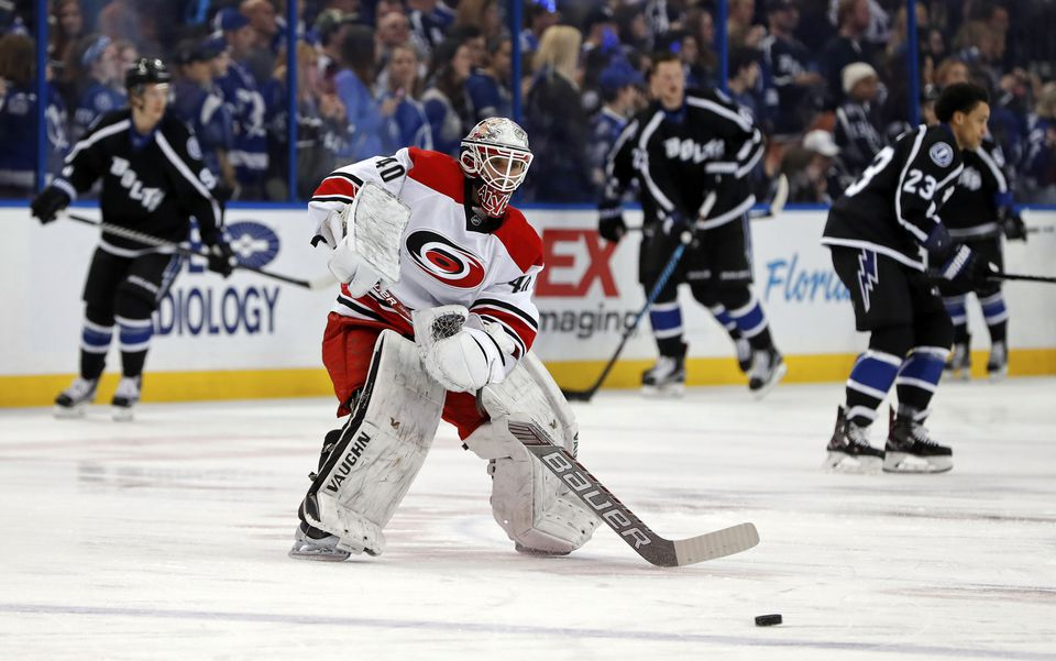Against the Lightning, Jorge Alves was doing his day job, but also filling in as backup goalie.