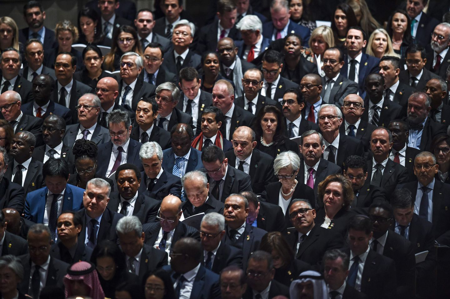 Guests listen to the eulogy of former president George H.W. Bush at his state funeral.