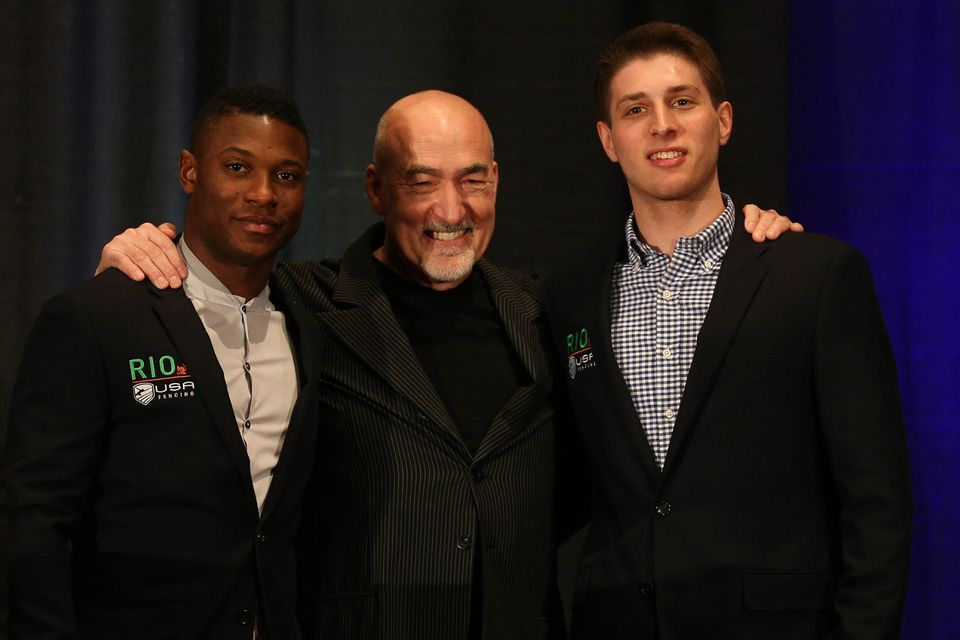 US men's national team saber coach Zoran Tulum (center) posed with Daryl Homer (left) and Eli Dershwitz during the announcement of the US Olympic fencing team in April.